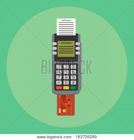 pos terminal isolated on background. Vector illustration. Eps 10.