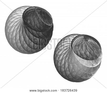 Fractal and abstract balls on white