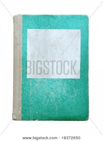 old green notebook isolated