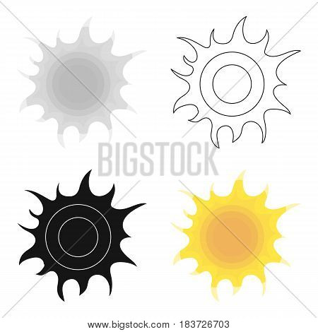 Sun icon in outline design isolated on white background. Bio and ecology symbol stock vector illustration.