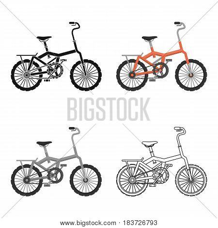 Little orange children's bicycle. Bicycles for children and a healthy lifestyle.Different Bicycle single icon in cartoon style vector symbol stock web illustration.
