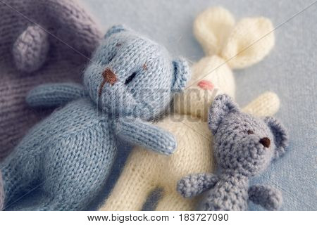 Three soft toy bears and a white hare