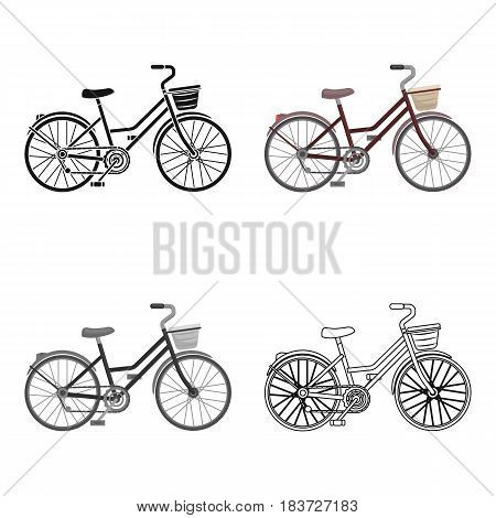 A red bicycle with wheels and basket. The eco-friendly transport.Different Bicycle single icon in cartoon style vector symbol stock web illustration.