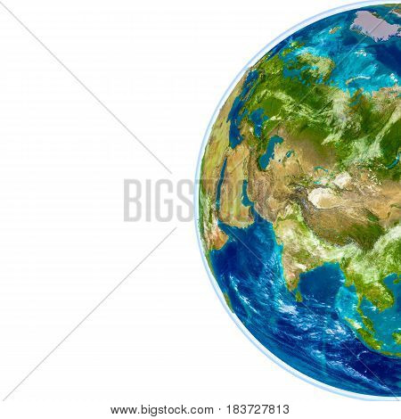 Central Asia On Physical Globe