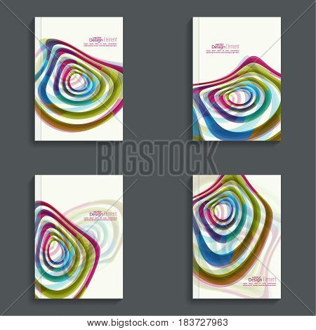 Set Magazine Cover with colored geometric shapes. For book, brochure, flyer, poster, booklet, leaflet, postcard, flier headline annual report  journal vector a4