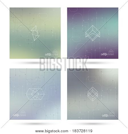 Trendy abstract background. Hipster geometric shape elements. Modern Signs, Label design. Retro style texture, pattern. Creative backdrop for booklets, covers, poster, banner. Vector Line and dot