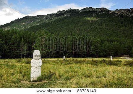 Stone monuments of kazakh woman in Borovoe, Burabay National park, Northern Kazakhstan
