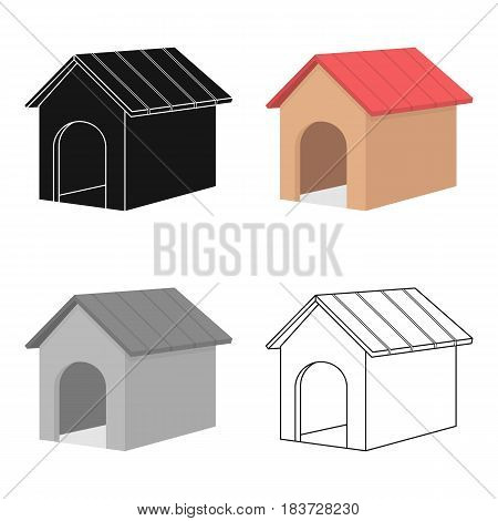 Doghouse vector illustration icon in cartoon design
