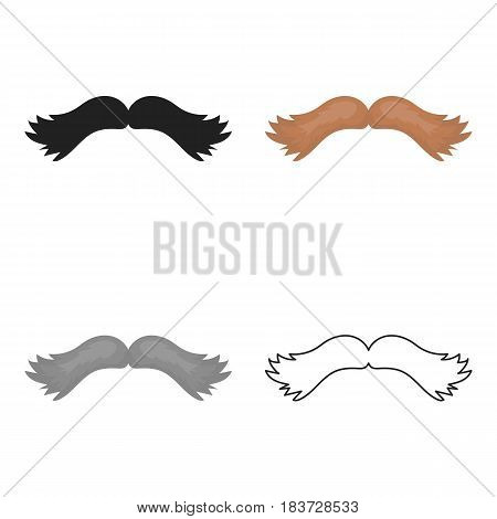 Man's mustache icon in cartoon style isolated on white background. Beard symbol vector illustration.