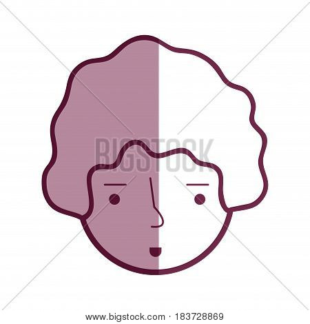 contour happy man head and nice face, vector illustration