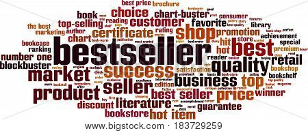 Bestseller word cloud concept. Vector illustration on white