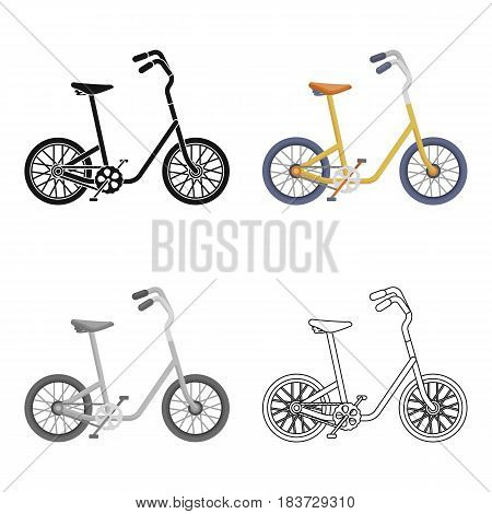 Little yellow children's bicycle. Bicycles for children and a healthy lifestyle.Different Bicycle single icon in cartoon style vector symbol stock web illustration.