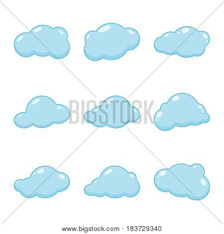 Cloud vector icons. Sky blue atmospheric bubbles. Comic nature cloudscape weather symbols. Collection cartoon cloudy isolated on the white background.