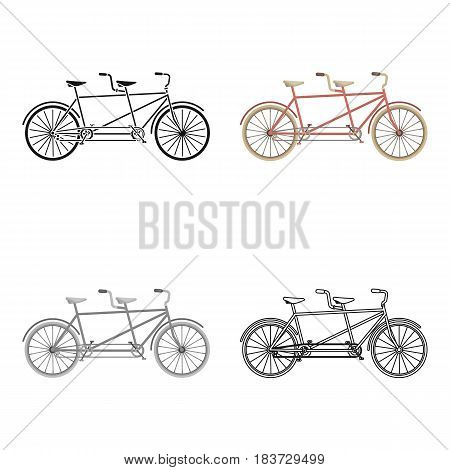 Tandem bike.Pleasure bicycle for two. Double bicycle. The ecological mode of transport.Different Bicycle single icon in cartoon style vector symbol stock web illustration.