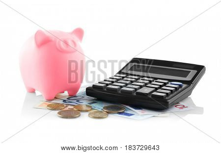 Cute piggy bank with money and calculator on white background