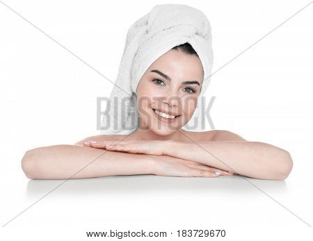 Beautiful young woman after bath on white background