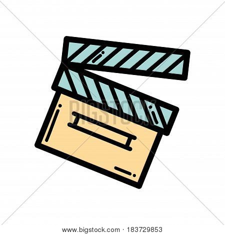 clapper board action video filmstrips, vector illustration