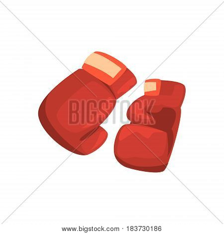 Red boxing gloves, sports equipment. Colorful cartoon vector Illustration isolated on a white background