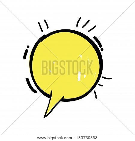 yellow round chat bubble communication, vector illustration