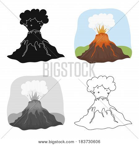 Volcano eruption icon in cartoon design isolated on white background. Dinosaurs and prehistoric symbol stock vector illustration.