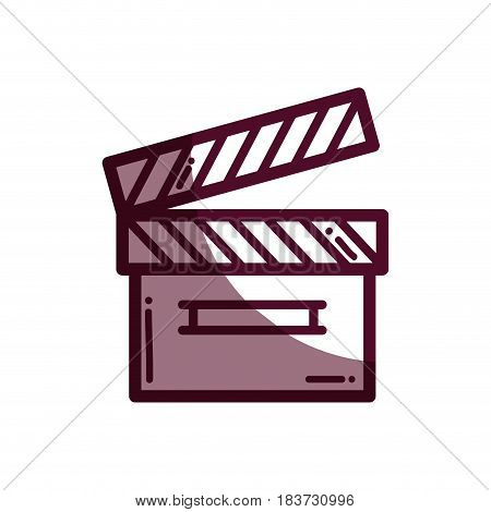 silhouette clapper board action video filmstrips, vector illustration