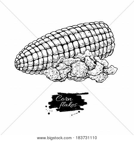 Corn flakes hand drawn vector illustration. Heap of granola muesli. Morning cereals in hand drawn style with corn cob