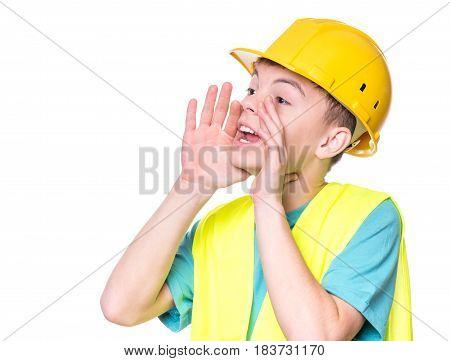Emotional portrait of handsome caucasian teen boy wearing safety jacket and yellow hard hat. Happy child screaming and looking away, isolated on white background.
