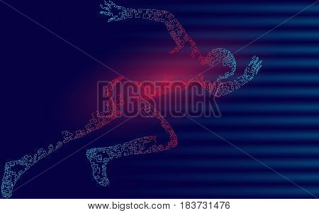 Fast running sportsman. Man run wind speed. Texture sport achievement champion winner. Silhouette sprinter background. Design impetuous runner vector art illustration