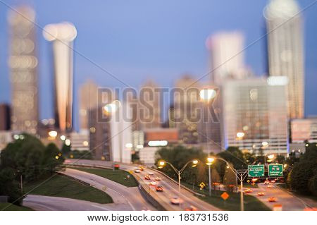 atlanta georgia city skyline early morning with tilt effect