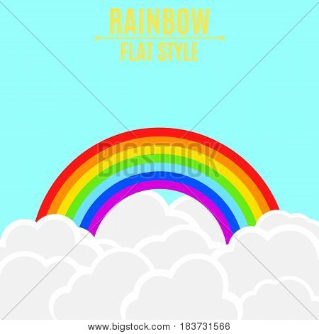 Rainbow with light clouds in the blue sky. Empty place for your projects. Vector illustration in a flat style. Children's wallpaper. EPS 8