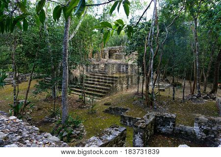 Mayan ruins in Coba Mexico surrounded by jungle