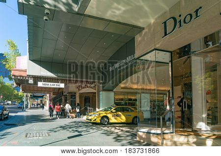 Luxury Boutiques And Hotels On Famous Collins Street In Melbourne