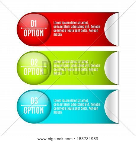 Infographics. Labels and stickers for your projects with text. Web design. Realistic vector illustration. Business style. Three options for selection. Modern marketing. EPS 10