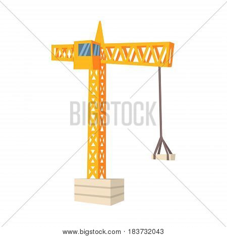 Yellow hoisting crane. Building and construction. Colorful cartoon vector Illustration isolated on a white background