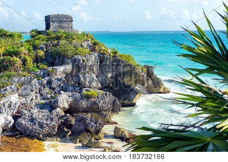 God of Winds temple in Tulum Mexico overlooking the Caribbean Sea