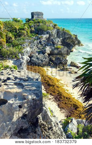 Small beach and mayan ruins at Tulum Mexico in the Riviera Maya