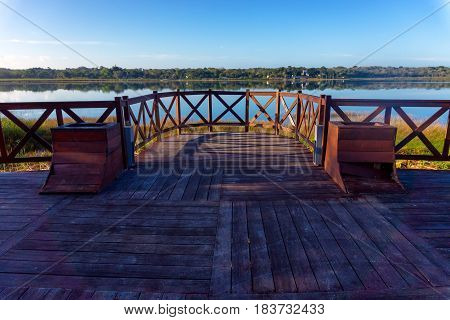 Boardwalk and view of Coba Lake in Coba Mexico
