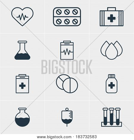 Vector Illustration Of 12 Medical Icons. Editable Pack Of Exigency, Trickle, Pills And Other Elements.
