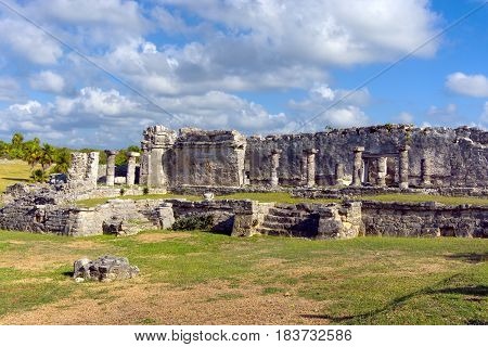 Columns of Mayan ruins in Tulum Mexico