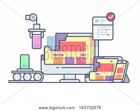 Website design and development. Web design, construction technology site, business development, vector illustration