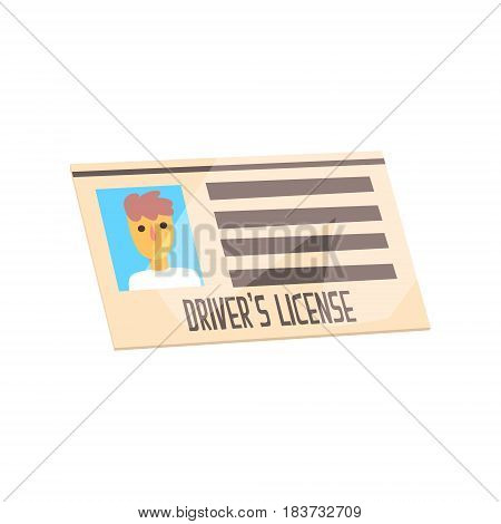 Man driver license identification card. Cartoon style document. Colorful vector Illustration isolated on a white background