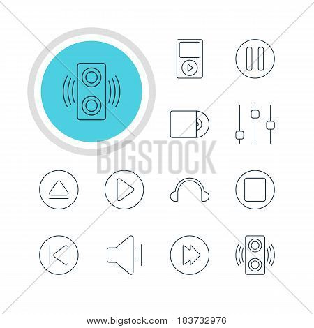 Vector Illustration Of 12 Melody Icons. Editable Pack Of Lag, Stabilizer, Start And Other Elements.