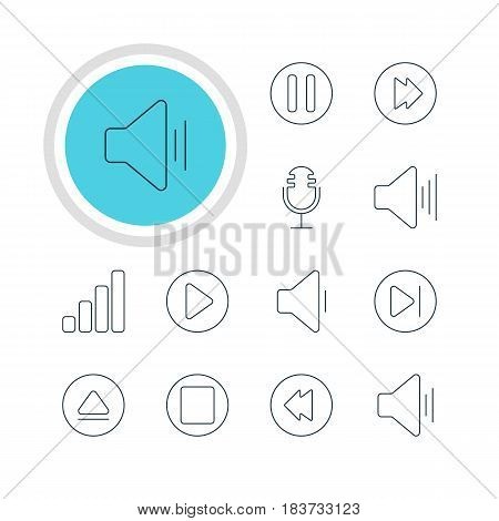 Vector Illustration Of 12 Melody Icons. Editable Pack Of Audio, Rewind, Reversing And Other Elements.