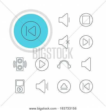 Vector Illustration Of 12 Music Icons. Editable Pack Of Subsequent, Audio, Rewind And Other Elements.