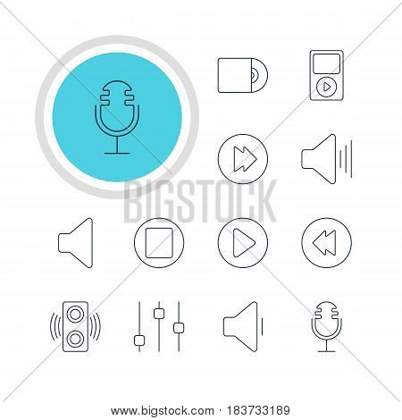 Vector Illustration Of 12 Music Icons. Editable Pack Of Amplifier, Advanced, Volume Up And Other Elements.