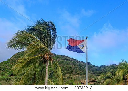 St. Maarten flag with palm tree on blue sky