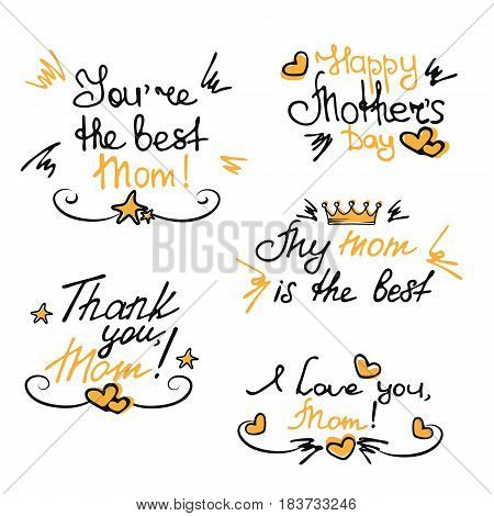 Happy Mothers's Day hand lettering stickers and elements.