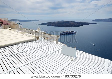 The view on Aegean sea Santorini island Greece
