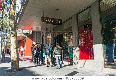 Melbourne Australia - April 03 2017: People queuing in front of Gucci store in Melbourne CBD