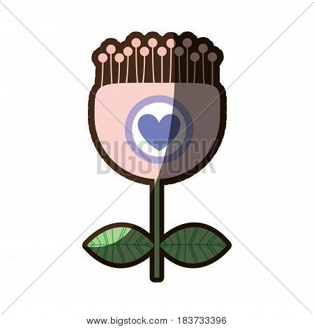 colorful silhouette shading of tulip flower and pistils with heart inside vector illustration